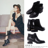 Ann'S時髦輪廓-側邊鬆緊設計後跟金色切口粗跟短靴-黑