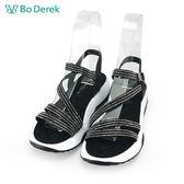 【Bo Derek 】線條排鑽平底涼鞋-黑色