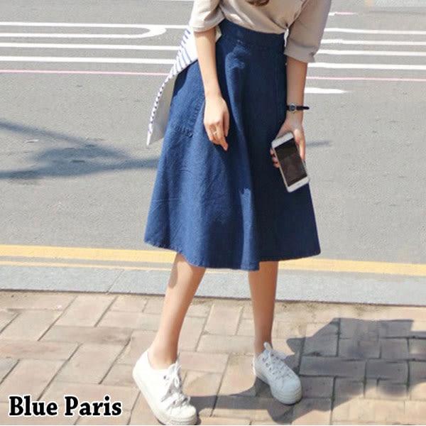 藍色巴黎 ★ 大口袋造型側邊拉鍊A字牛仔裙 中長傘裙 及膝裙【23291】