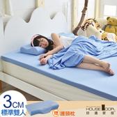 House Door 抗菌防螨布 3cm厚記憶床墊超值組-雙人5尺天空藍
