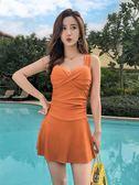 泳衣 泳衣女泡溫泉保守顯瘦遮肚性感韓國2019新款連體裙式大碼平角泳裝