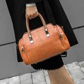 托特包 大包包女2019新款斜背包百搭波士頓包皮質女包時尚女士編織手提包【【八折搶購】】