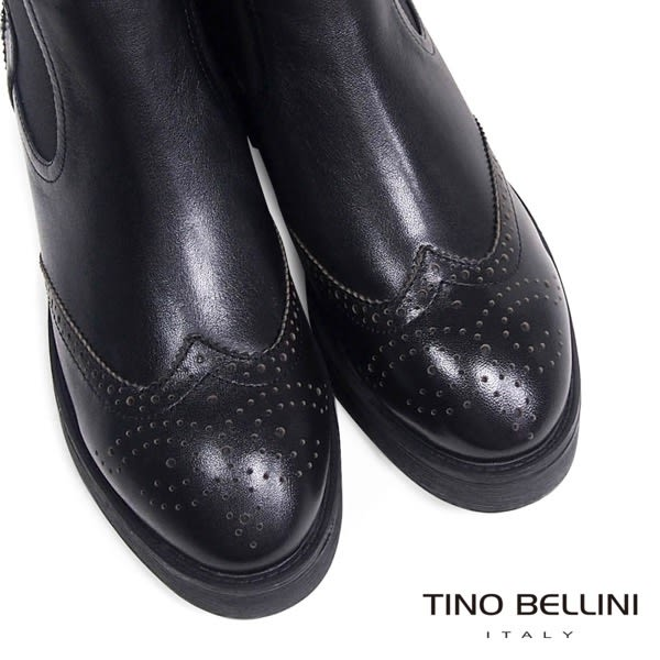 Tino Bellini 學院牛津雕花拼接搖滾個性鉚釘厚底短靴(黑)_IN1126  2015AW