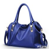 手提包 女2新款時尚中年媽媽軟皮包單肩斜挎大容量手提包 FR3777『夢幻家居』