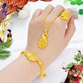 項鍊 越南沙金三件套飾品女孔雀款戒指項鍊手鍊久不掉色鍍黃金時尚首飾