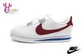 NIKE童鞋 阿甘鞋 魔鬼氈 nike運動鞋 皮革 白x紅 休閒運動鞋 P7191#白紅 ◆OSOME奧森鞋業