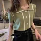 冰絲上衣-夏季女裝網紅小眾冰絲針織小衫薄洋氣短袖學生洋氣T恤抹茶綠上衣