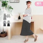 【MK0304】哺乳衣兩件式彈力蕾絲罩衫條紋洋裝