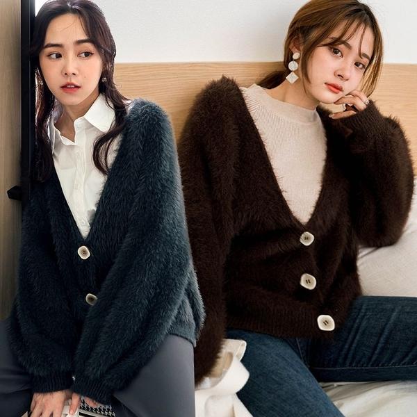 現貨-MIUSTAR 暈染感方釦毛毛外套(共3色)【NH3166】預購
