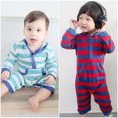 長袖連身衣 純棉 簡約 條紋 連帽 男寶寶 女寶寶 爬服 哈衣 Augelute Baby 35162