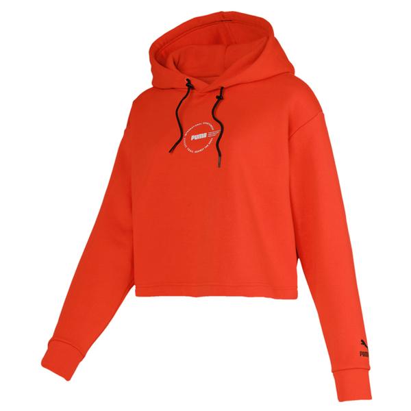 Puma XTG Trail 女款 橘色 長袖 短版上衣 流行系列 運動服飾 棉質 帽t 休閒 短版長袖 59674216