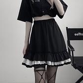 S-XL大碼百褶半身裙a字百褶半身裙高腰褲裙防走光蕾絲蛋糕裙8162 3F073 胖妹大碼女裝
