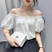 2021夏季新款氣質露肩一字領雪紡襯衫女設計感小眾短款泡泡袖上衣