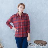 【Tiara Tiara】經典格紋純棉襯衫(藍/紅/黑)
