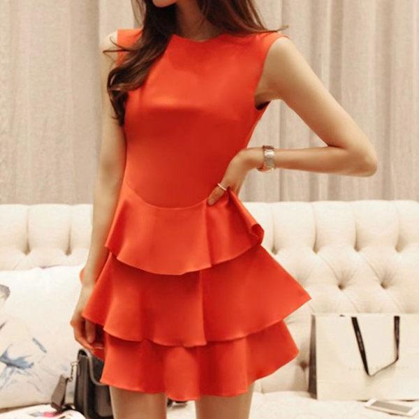甜美無袖圓領多層荷葉裙擺洋裝   橘紅色 [MN160407]