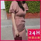 梨卡★現貨 - 夏日復古顯瘦格紋泡泡袖連...
