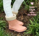 春夏兒童雨鞋加絨女防滑小學生