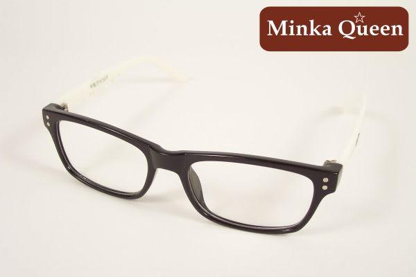 Minka Queen 黑色亮白混色膠框(抗UV400)潮流必備個性百搭流行配光眼鏡