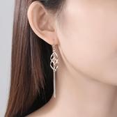 純銀耳墜女氣質耳環韓國長款飾品