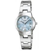 【CASIO】都會簡約超清晰不鏽鋼腕錶-淺藍(LTP-1241D-2A)