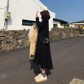 遮胯裙子初秋2019年新款胖mm大碼女裝打底針織連身裙秋冬洋氣顯瘦