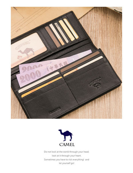 CAMEL - 爵品絲印款牛皮12卡1照長夾-共2色