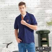 【JEEP】復古造型素面短袖POLO衫-藍