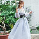 款 改良日常仙女漢服元素織 拼接長袖洋裝 連身裙 送腰帶【熱銷88折】
