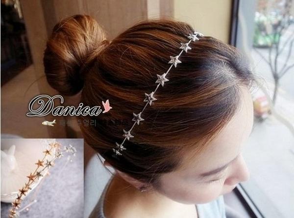 髮飾 現貨 韓國氣質甜美手作 金屬感 五角星星 髮箍(2色) S7431  批發價 Danica 韓系飾品