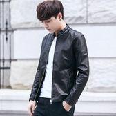 秋季新款青年韓版潮流修身皮衣男士帥氣休閒立領皮夾克男外套秋裝