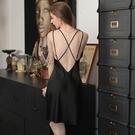 睡裙 性感睡衣女夏帶胸墊聚攏火辣誘惑真絲綢睡衣夏季薄款冰絲吊帶睡裙-Ballet朵朵