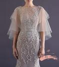 禮服披肩 時尚雙層軟網白色蕾絲新娘婚紗禮...