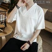 中國風男裝亞麻棉麻短袖T恤