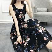 無袖洋裝-夏季新款波西米亞背心長裙海邊度假沙灘裙收腰碎花綿綢連身裙 Korea時尚記