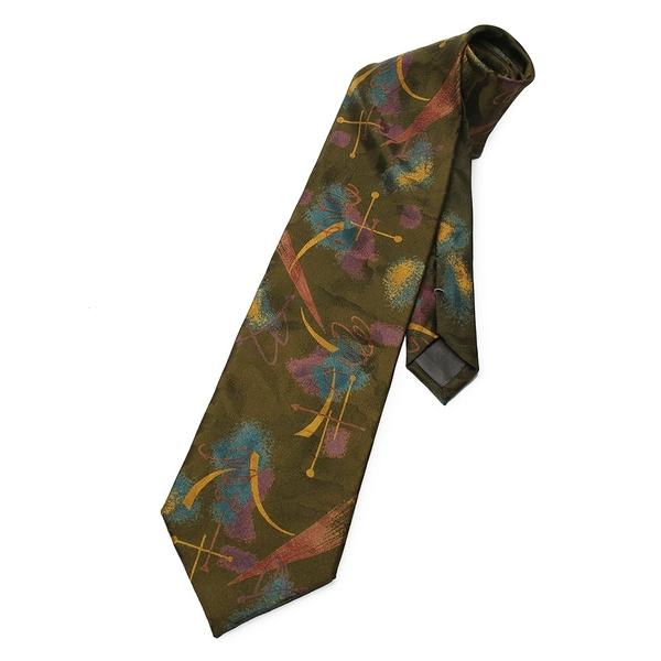 YUKIKO HANAI日本抽象印花絹質領帶(橄欖綠)949010-07