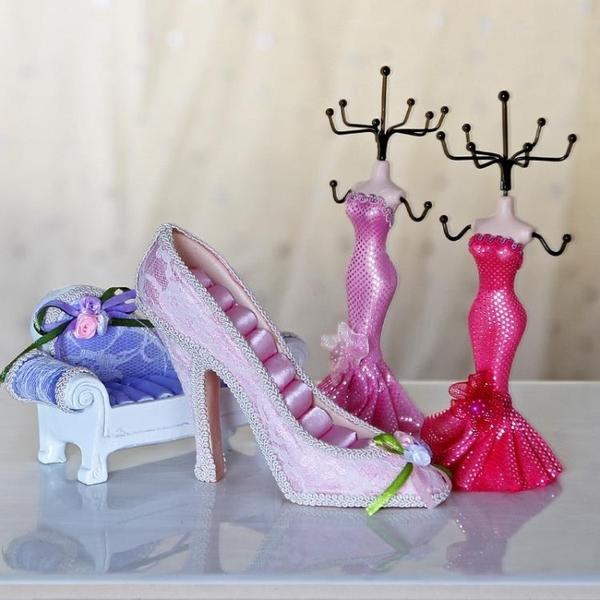 [超豐國際]韓式樹脂首飾架結婚禮物 創意家居化妝桌裝飾品擺件1入
