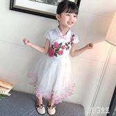 女童旗袍紅色中國風唐裝兒童洋氣公主連身裙小女孩古箏演出服夏季xy2953【艾菲爾女王】