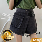 【Stay】韓版高腰顯瘦寬鬆百搭牛仔褲裙...