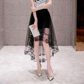 魚尾修身燕尾半身裙女中長款網紗夏季蕾絲A字百褶包臀裙艾維朵