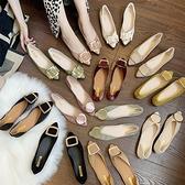 女鞋2021新款單鞋春季百搭網紅夏款一腳蹬懶人尖頭平底豆豆鞋瓢鞋