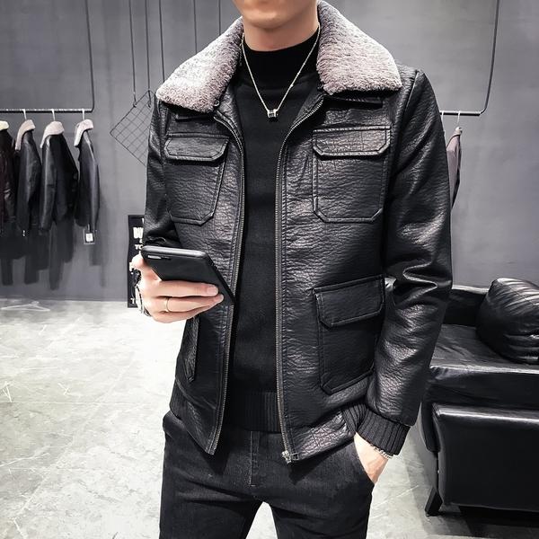 FINDSENSE品牌 秋冬季 新款 日本 男 高端  機車水洗皮衣 加厚  休