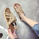 草編鞋 涼鞋女夏新款平底百搭草編鞋麻繩沙灘鞋交叉綁帶女鞋-Ballet朵朵