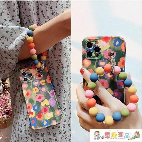 蘋果手機殼 彩色花朵圓環iphone11promax個性12創意蘋果7\/8plus手機殼XR潮女X 童趣