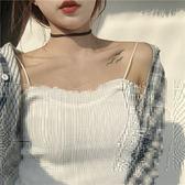 韓版時尚小性感花邊針織吊帶小背心修身顯瘦外穿打底衫無袖上衣女 衣涵閣.