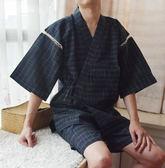 春秋夏季男士和服短袖睡衣套裝日式溫泉和風家居服甚平