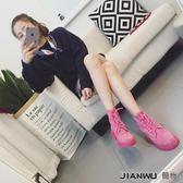 夏天粉色單靴子學生平底粗跟短靴
