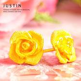 Justin金緻品 黃金耳環 聆聽花語 9999純金耳環 金飾 玫瑰花