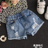 女童牛仔短褲破洞夏季5女孩6時尚8童裝9中大童10韓版12歲薄款熱褲 歐韓時代