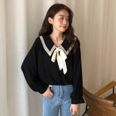 2020秋季新款韓版學生蝴蝶結娃娃領襯衫小清新寬鬆雪紡長袖上衣女 moon衣櫥