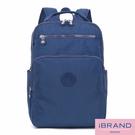 【i Brand】輕盈防潑水素色雙拉鍊尼龍後背包(大)-藍色 MDS-8612L-BL